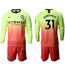 Manchester City #31 Ederson M. Third Long Sleeves Soccer Club Jersey