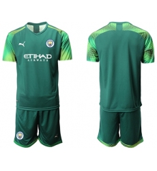 Manchester City Blank Army Green Goalkeeper Soccer Club Jersey