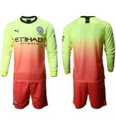 Manchester City Blank Third Long Sleeves Soccer Club Jersey