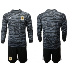 Argentina Blank Black Long Sleeves Goalkeeper Soccer Country Jersey