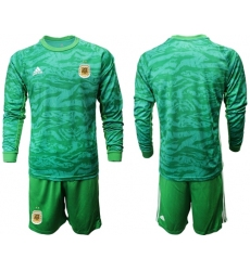 Argentina Blank Green Long Sleeves Goalkeeper Soccer Country Jersey