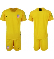 USA Blank Yellow Goalkeeper Soccer Country Jersey