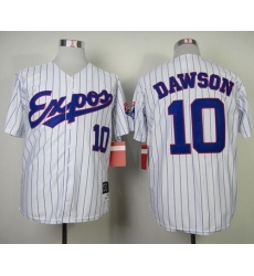 Mitchell and Ness 1982 Expos #10 Andre Dawson White Blue Strip Throwback Stitched Baseball Jersey