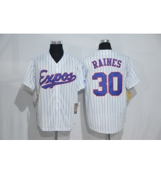 Mitchell And Ness Montreal Expos #30 Tim Raines White Strip Throwback Stitched Baseball Jersey