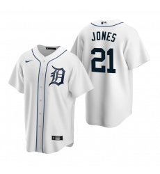 Men's Nike Detroit Tigers #21 JaCoby Jones White Home Stitched Baseball Jersey