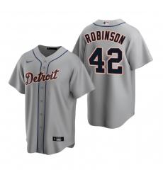 Men's Nike Detroit Tigers #42 Jackie Robinson Gray Road Stitched Baseball Jersey