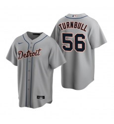 Men's Nike Detroit Tigers #56 Spencer Turnbull Gray Road Stitched Baseball Jersey