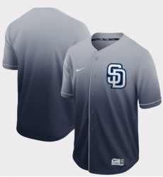 Men's Nike San Diego Padres Blank Navy Fade Authentic Stitched Baseball Jersey