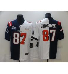 Men's Tampa Bay Buccaneers #87 Rob Gronkowski Blue White Bowl LV Bowl LIII Limited Split Fashion Football Jersey