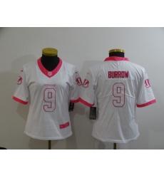 Women's Nike Cincinnati Bengals #9 Joe Burrow Color Rush Limited White Jersey