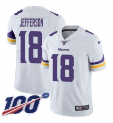 Men's Minnesota Vikings #18 Justin Jefferson White Stitched NFL 100th Season Vapor Untouchable Limited Jersey