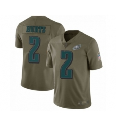 Philadelphia Eagles #2 Jalen Hurts Limited Olive 2017 Salute to Service Football Jersey