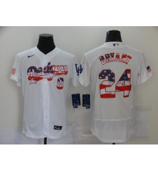 Men's Los Angeles Dodgers Kobe Bryant White 2020 Stars & Stripes 4th of July Jersey