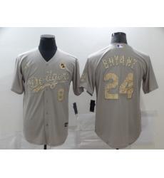 Men's Nike Mlb Los Angeles Dodgers Kobe Bryant Gray Fashion Version Jerseys