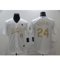 Men's Nike Mlb Los Angeles Dodgers Kobe Bryant White Fashion Version Jerseys
