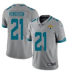 Men's Jacksonville Jaguars #21 C.J. Henderson Silver Stitched Limited Inverted Legend Jersey