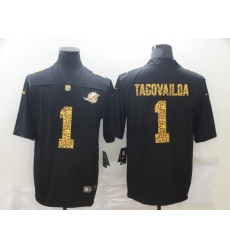 Men's Miami Dolphins #1 Tua Tagovailoa Black Nike Leopard Print Limited Jersey