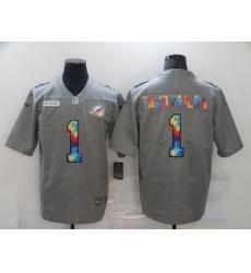 Men's Miami Dolphins #1 Tua Tagovailoa Gray Rainbow Version Nike Limited Jersey