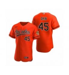 Men's Baltimore Orioles #45 Keegan Akin Nike Orange Authentic Alternate Jersey