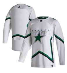 Men's Dallas Stars adidas Blank White 2020-21 Reverse Retro Authentic Jersey