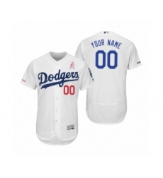 Men's Los Angeles Dodgers Custom White 2019 Mothers Day Flex Base Home Jersey