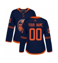 Women's Edmonton Oilers Customized Authentic Navy Blue Alternate Hockey Jersey