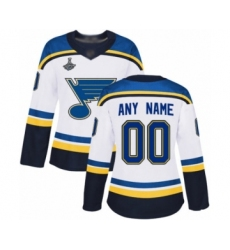 Women's St. Louis Blues Customized Authentic White Away 2019 Stanley Cup Champions Hockey Jersey