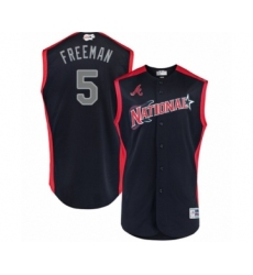 Youth Atlanta Braves #5 Freddie Freeman Authentic Navy Blue National League 2019 Baseball All-Star Jersey