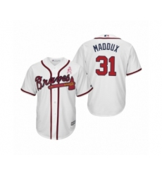 Men's Greg Maddux Atlanta Braves #31 White 2019 Mothers Day Cool Base Jersey