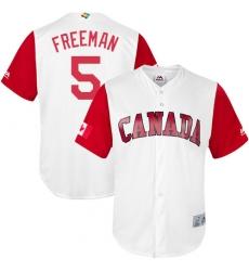 Men's Canada Baseball Majestic #5 Freddie Freeman White 2017 World Baseball Classic Replica Team Jersey