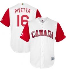 Men's Canada Baseball Majestic #16 Nick Pivetta White 2017 World Baseball Classic Replica Team Jersey