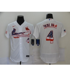 Men's Nike St. Louis Cardinals #4 Yadier Molina Yadi White 2020 Stars & Stripes 4th of July Jersey