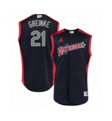Men's Arizona Diamondbacks #21 Zack Greinke Authentic Navy Blue National League 2019 Baseball All-Star Jersey