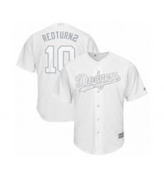 Men's Los Angeles Dodgers #10 Justin Turner  Redturn2 Authentic White 2019 Players Weekend Baseball Jersey