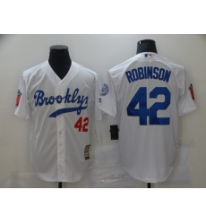 Men's Los Angeles Dodgers #42 Jackie Robinson White Throwback Jersey