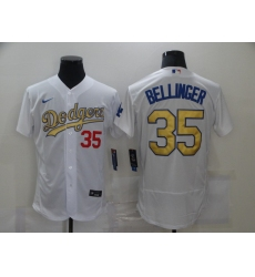Men's Los Angeles Dodgers #35 Cody Bellinger Olive Gold Authentic Jersey