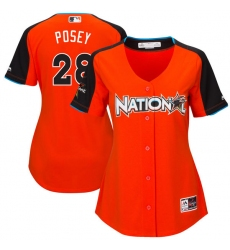 Women's Majestic San Francisco Giants #28 Buster Posey Replica Orange National League 2017 MLB All-Star MLB Jersey