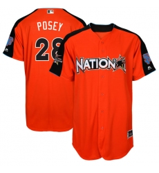Youth Majestic San Francisco Giants #28 Buster Posey Authentic Orange National League 2017 MLB All-Star MLB Jersey