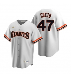 Men's Nike San Francisco Giants #47 Johnny Cueto White Cooperstown Collection Home Stitched Baseball Jersey