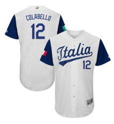 Men's Italy Baseball Majestic #12 Chris Colabello White 2017 World Baseball Classic Authentic Team Jersey