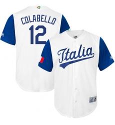 Men's Italy Baseball Majestic #12 Chris Colabello White 2017 World Baseball Classic Replica Team Jersey