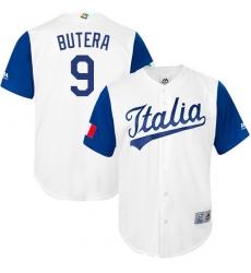 Men's Italy Baseball Majestic #9 Drew Butera White 2017 World Baseball Classic Replica Team Jersey