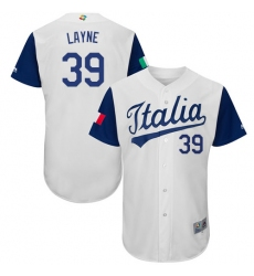 Men's Italy Baseball Majestic #39 Tommy Layne White 2017 World Baseball Classic Authentic Team Jersey