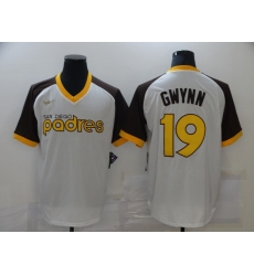 Men's Ness San Diego Padres #19 Tony Gwynn Nike Replica White Throwback MLB Jersey