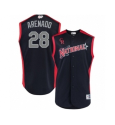 Men's Colorado Rockies #28 Nolan Arenado Authentic Navy Blue National League 2019 Baseball All-Star Jersey