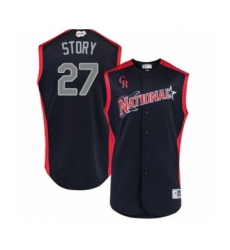 Men's Colorado Rockies #27 Trevor Story Authentic Navy Blue National League 2019 Baseball All-Star Jersey