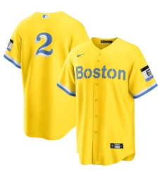 Men's Boston Red Sox #2 Xander Bogaerts Nike Gold-Light Blue 2021 City Connect Replica Player Jersey