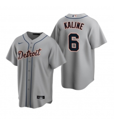Men's Nike Detroit Tigers #6 Al Kaline Gray Road Stitched Baseball Jersey