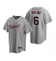 Men's Nike Detroit Tigers #6 Al Kaline Gray Road Stitched Baseball Jersey