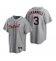 Men's Nike Detroit Tigers #3 Alan Trammell Gray Road Stitched Baseball Jersey